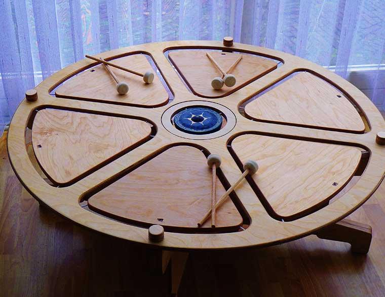 Hofbogen ondernemer: Tutti timbri, houten speelgoed, drumtafel met gong
