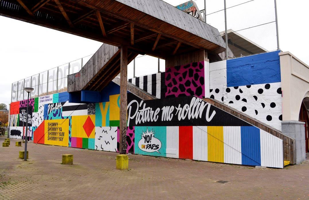 De hofbogen nieuwe muurschildering naast station hofplein - Nieuw muurschildering ...